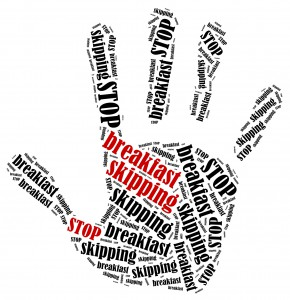 Stop breakfast skipping. Word cloud illustration in shape of hand print showing protest.
