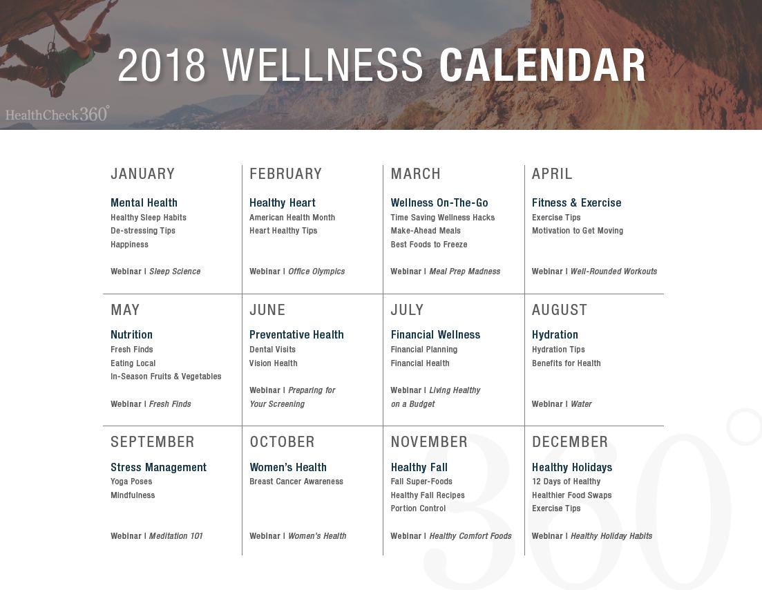 Free 2018 Wellness Calendar